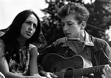 Dylan and Joan Baez. Civil Rights March Washington D.C 1963. Image wikipedia.com