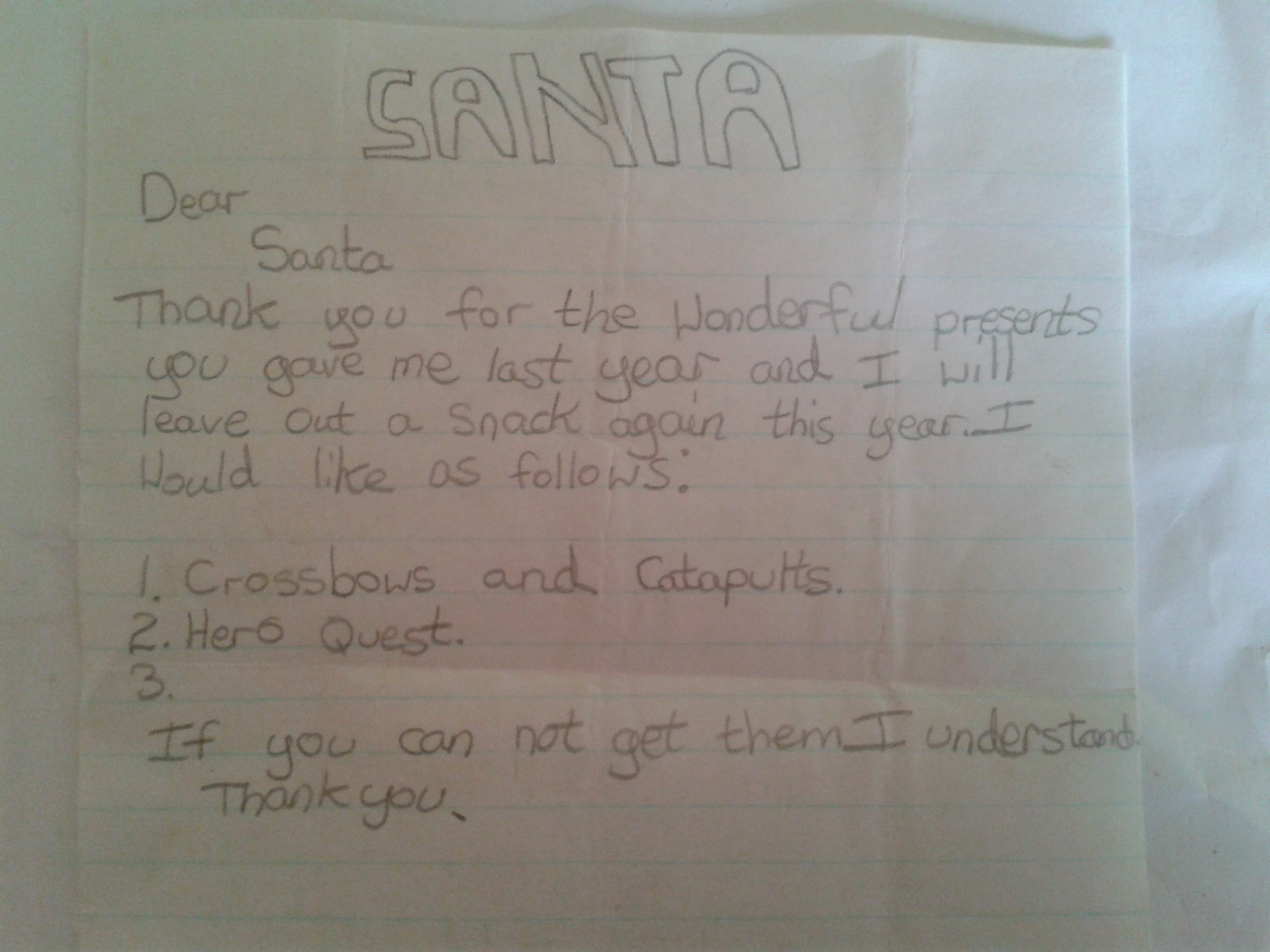 Text of request to the mythological figure, Santa
