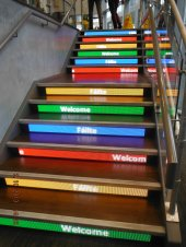 The stairs have moving 'welcome' messsages