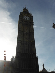 Big Ben is the name of the bell that strikes in the belltower of the Palace of Westminster.