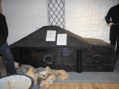 A Seven Body Coffin as used at the Workhouse. The bottom slid open so it could be reused