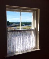 Original sash window with brass fittings