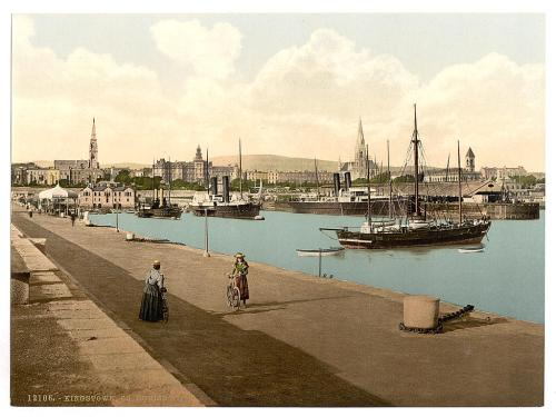 Kingstwon Harbour c1895 with the Town Commissioners Building between the two spires. (Image Library of Congress)