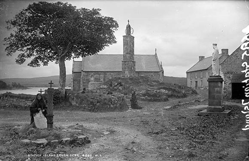 Pilgrims at Lough Derg Station Island c.1890. Image Wikimedia Commons