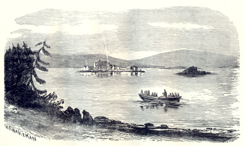 Pilgrims being rowed to Lough Derg in 1876  by W.F . Wakeman. (Image Wikimedia Commons)