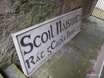 The old school sign in old Irish has been taken down..