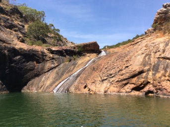 Serpentine falls in mid-