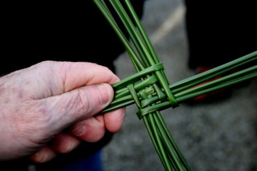 Making a St Brigid's Cross  (Image Wikimedia Commons)