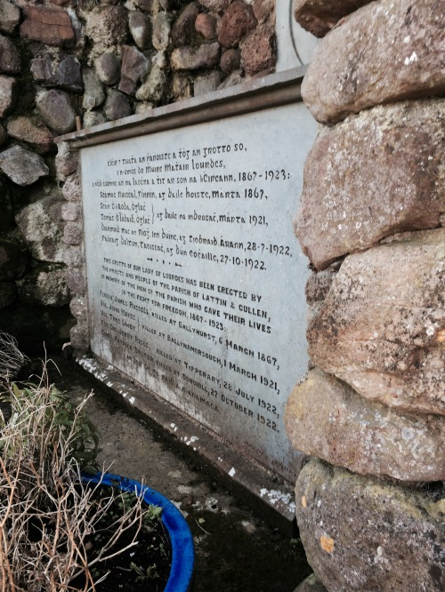 Inscrpition at the Grotto, commemorating locals who died for Ireland
