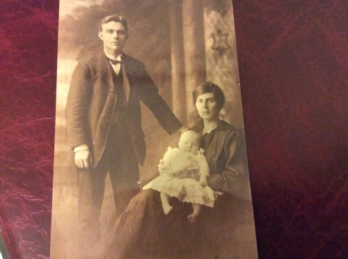 James Gallagher and Mary Friel with their firstborn, Mary Isabella Gallagher in 1917