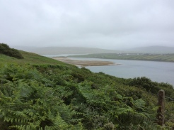 Sruwaddacon Bay at the base of the steep hill