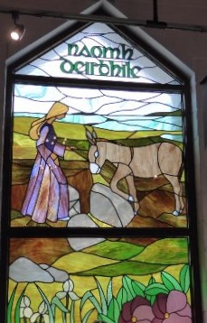St Deirbhile Stained Glass window at the Centre.
