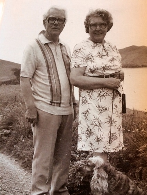 Our parents, Berard and Maude Gallagher holidaying in the Dingle Peninsula c 1980s with their cocker spaniel Kerry