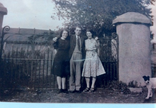 Our Dad, Gerard Gallagher with his sister Eileen to the right as viewed and A.N.Other at the Minister's Gates c, 1940-ish
