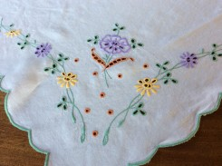 A tablecloth that she also treasured for years ..she gave me this in 1997 (thesilvervoice)