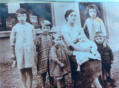 Three Gallagher children with their Aunt Annie and three cousins in Fanad, probably in the late 1920s. Aunt Eileen ('Di') is on the extreme left