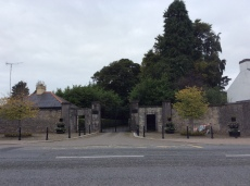 The gates to Castle Forbes are in the middle of the village.
